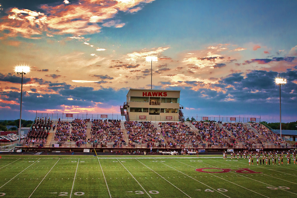 Goodloe Stadium at sunset