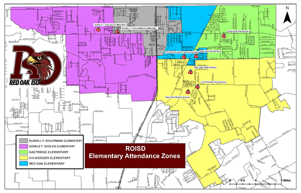 map showing Elementary Attendance Zones