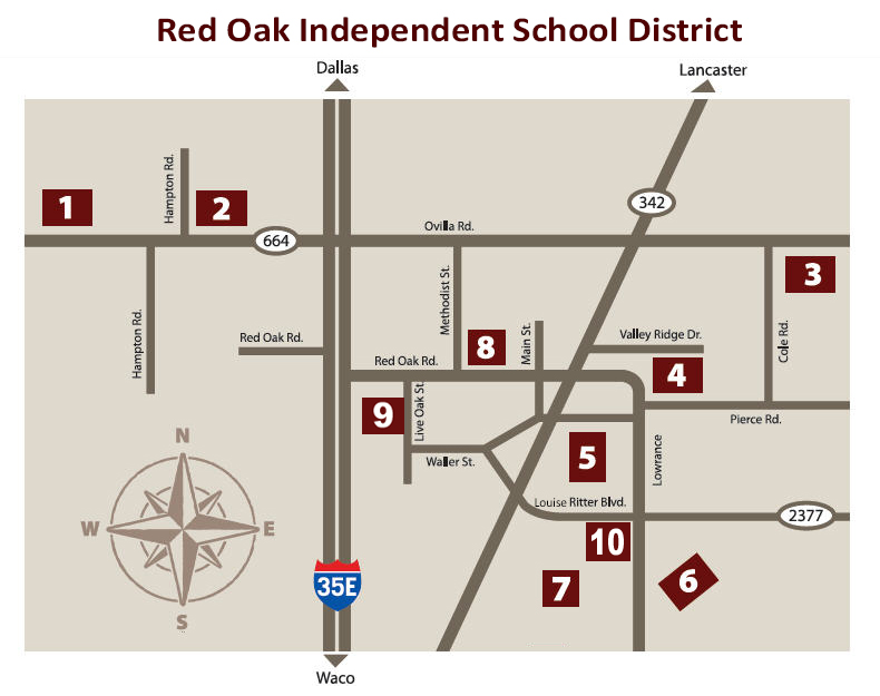 graphic of the district map showing the location of each school