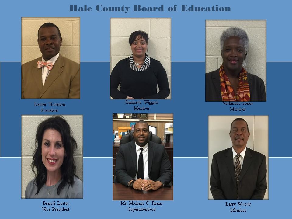 Picture of board members Dexter Thorton, President, Shalanda Wiggins, member, Verlander Jones, member, Brandi Lester,vice president, Michael Ryans, superintendent, Larry Woods, member