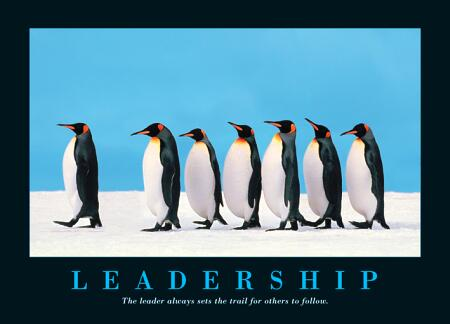LEADERSHIP: The leader always sets the trail for others to follow.