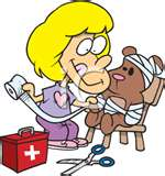 cartoon picture of nurse and teddy bear