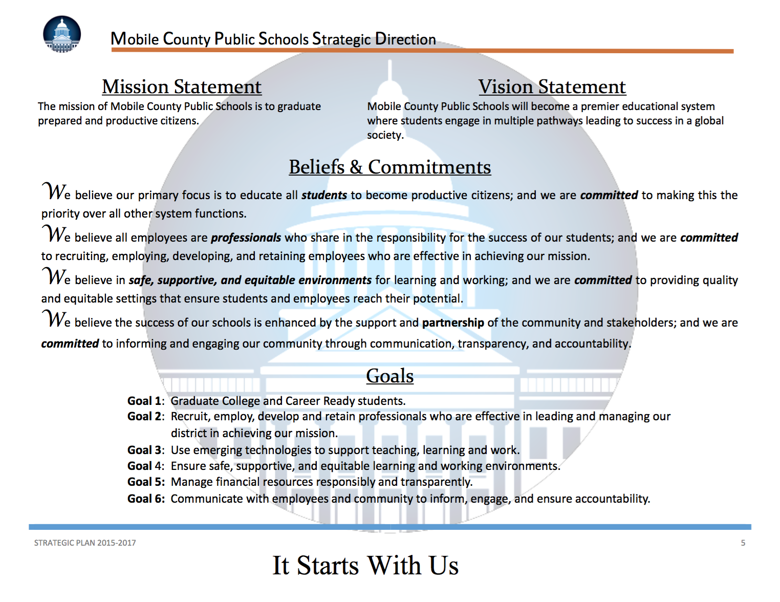 mobile county public schools the board beliefs commitments
