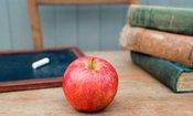 apple on a desk