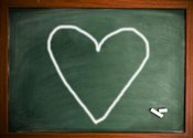 Heart drawn on chalkboard