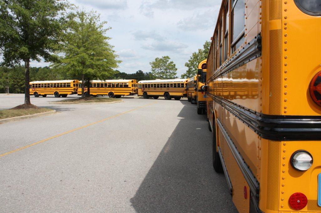 Line of buses at Hoover High School