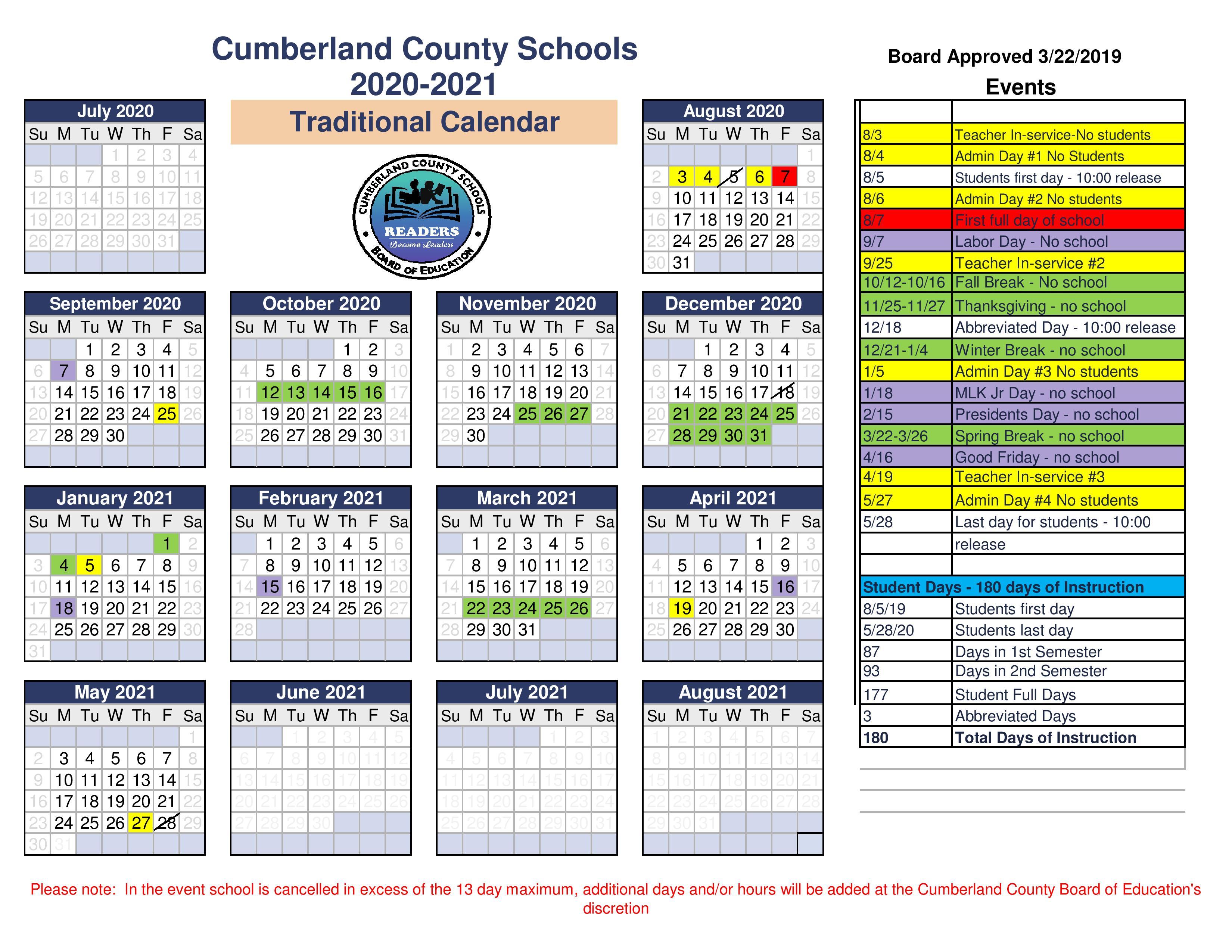 Traditional Calendar 2020-2021 School Year