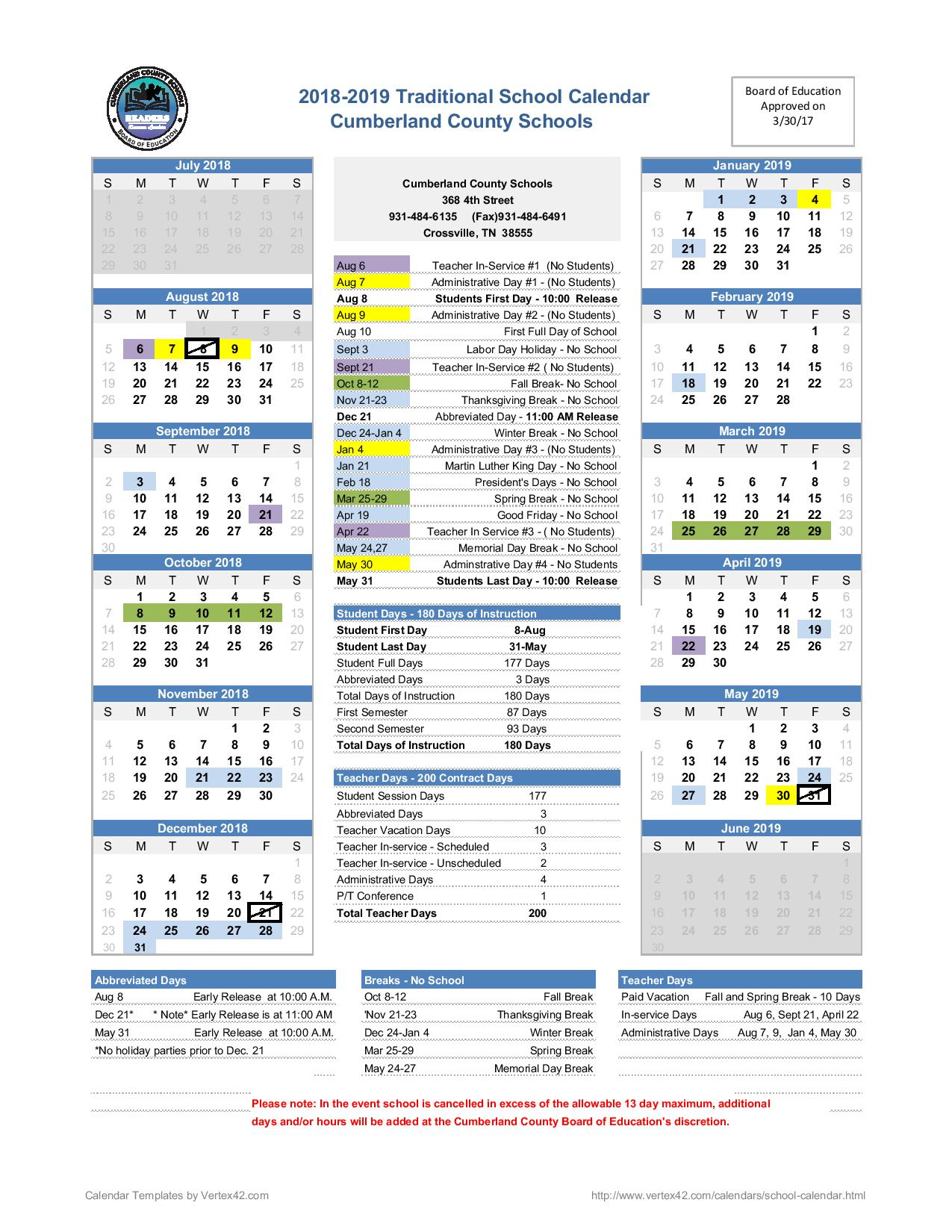 District Calendars Cumberland County School District