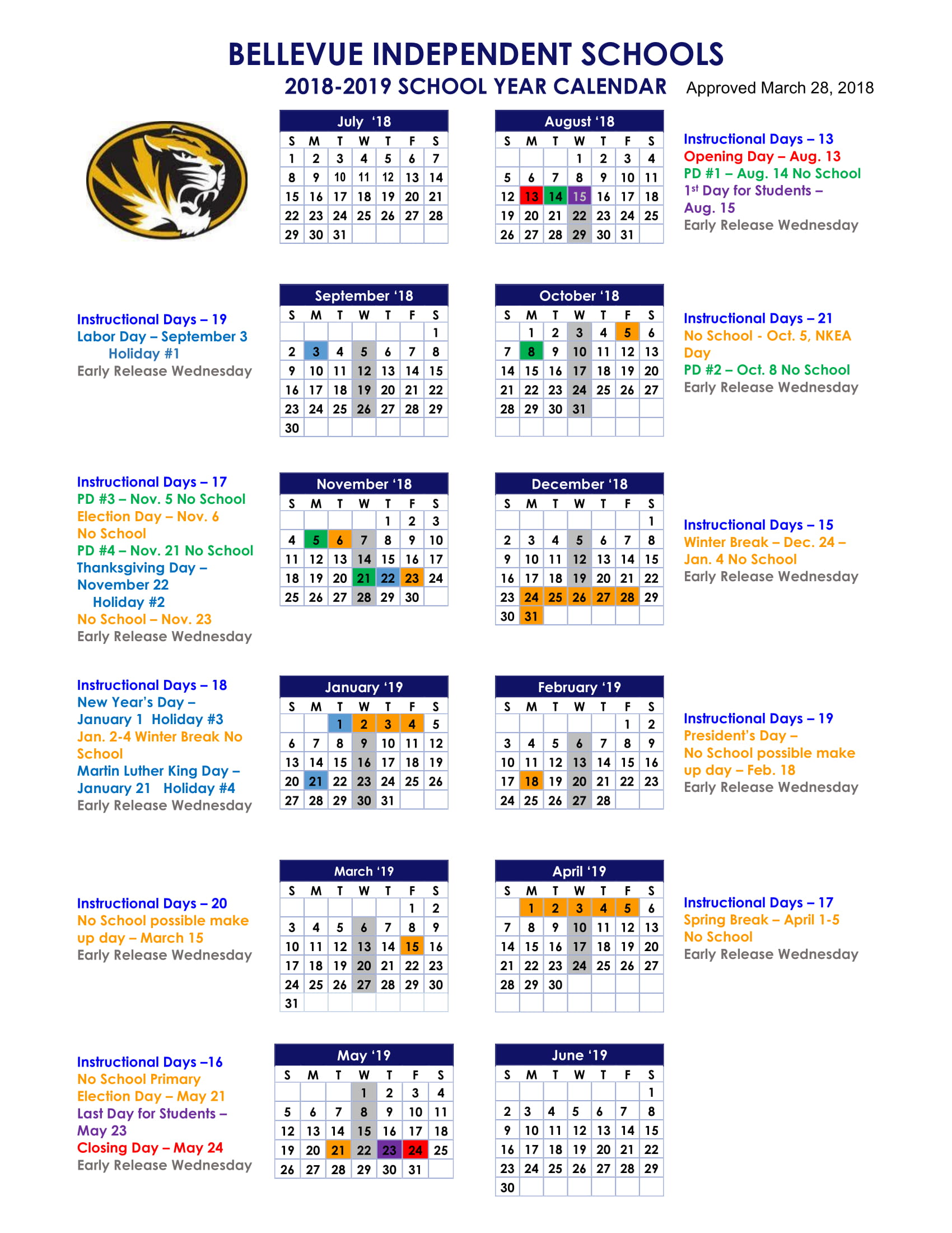 Cincinnati Public Schools Calendar.Bellevue High School 2018 2019 District Calendar