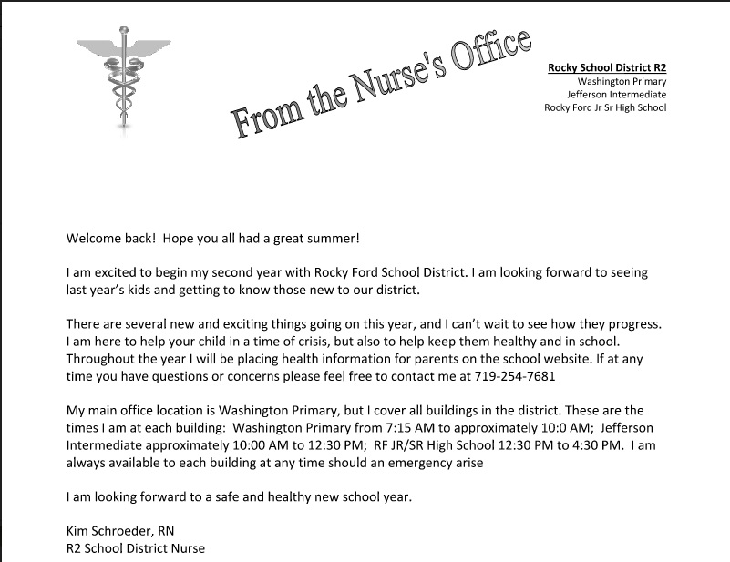Welcome Letter from the Nurse