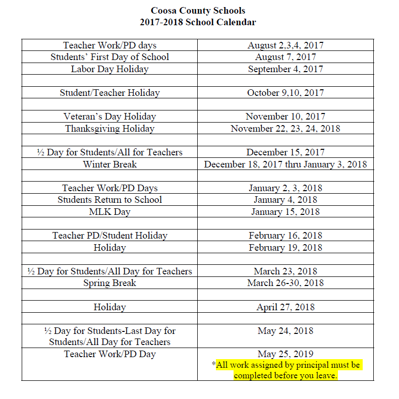 2017 - 2018 School Calendar | Coosa County School District
