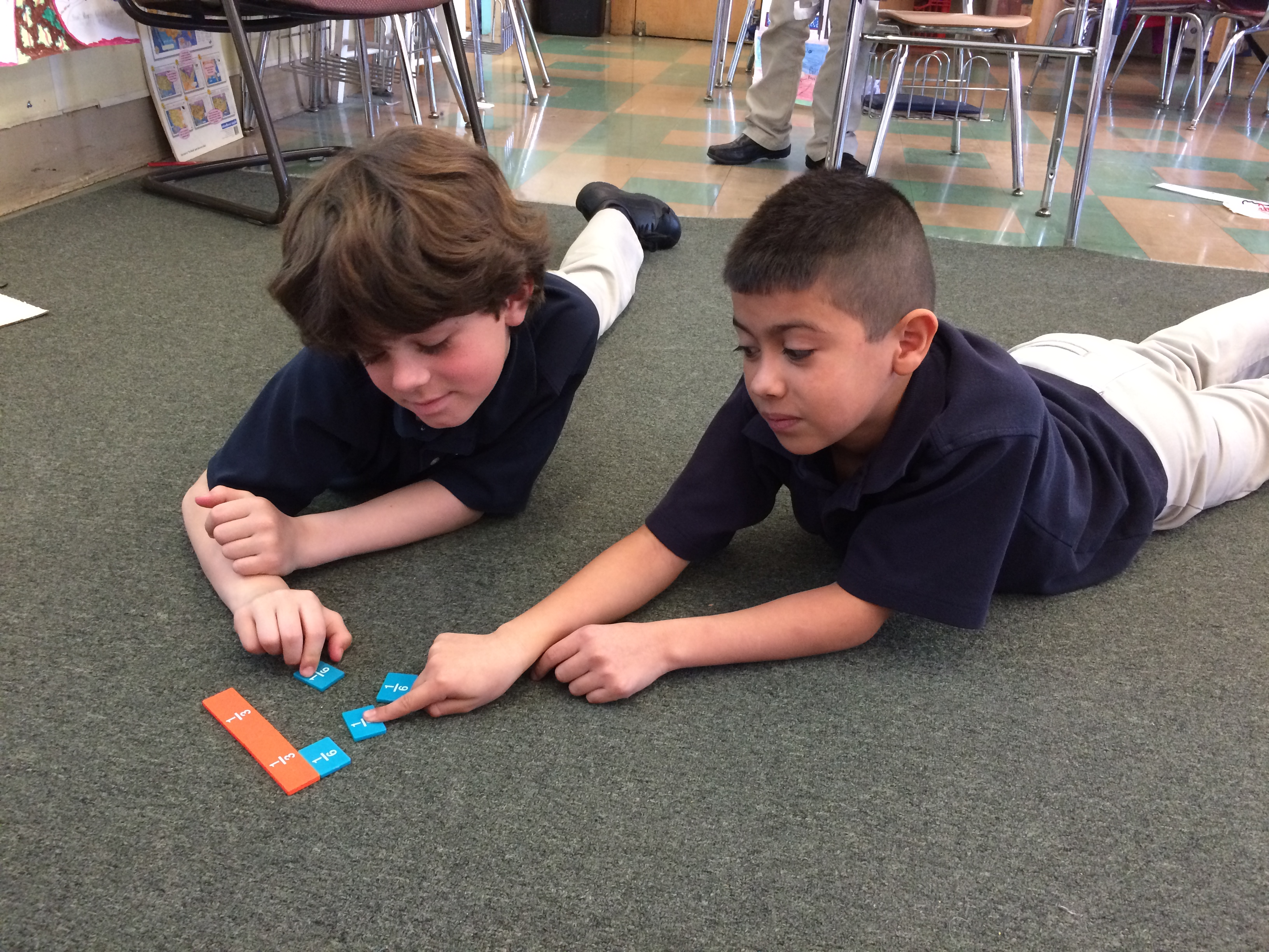 Fraction tiles to find equivalent fractions