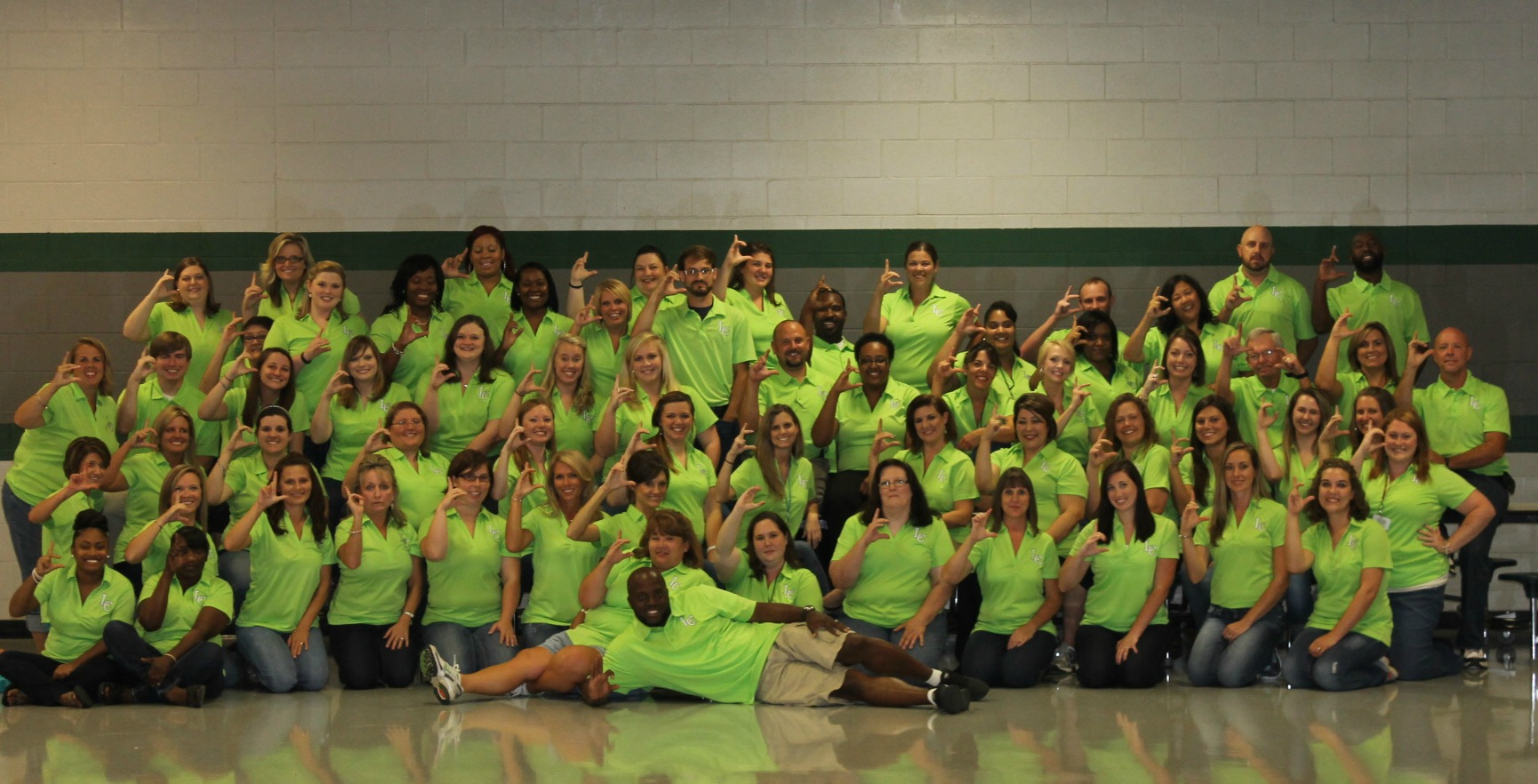 group wearing green shirts for R.O.C.K events