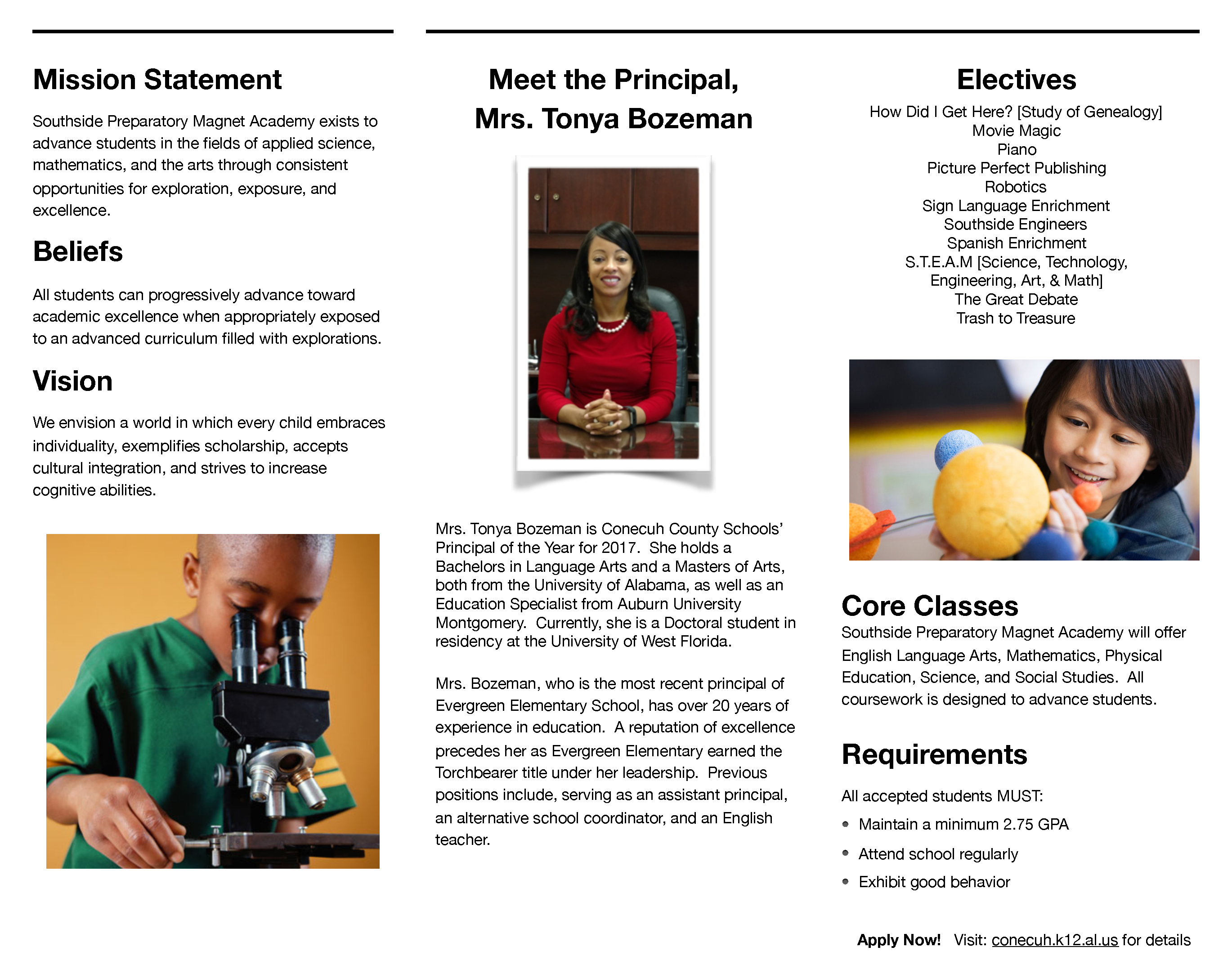 District mission statement, principal and electives