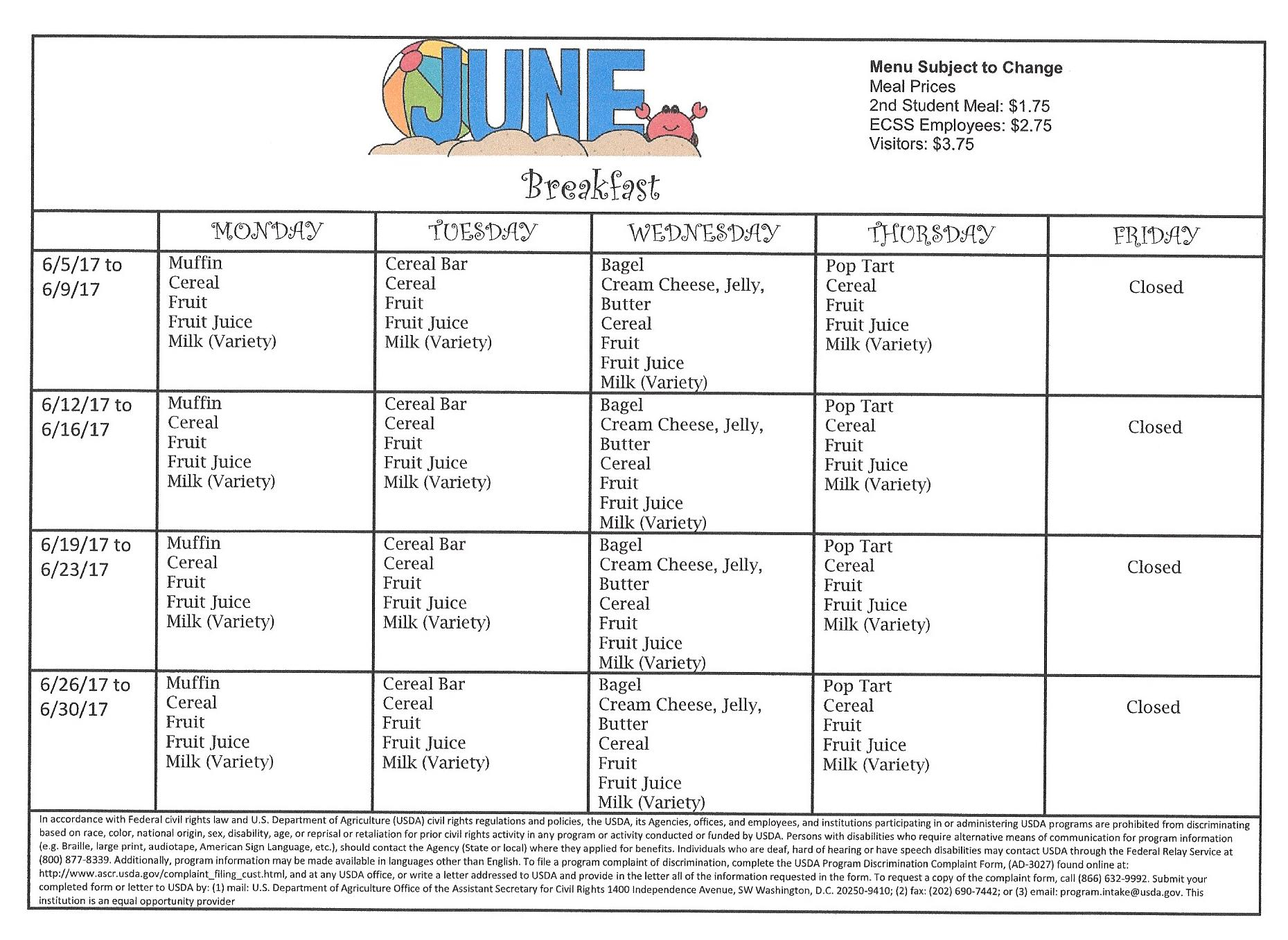 June Breakfast Menu