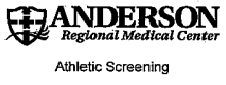 Anderson Regional Medical Center Althletic Screening