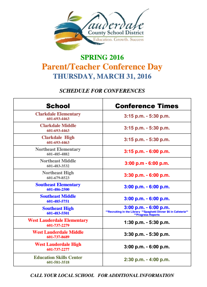 Parent/Teacher Conference Day Spring 2016