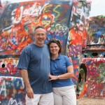 Tammy Fiscus with husband, Chris Fiscus, at Cadillac Ranch in Texas.
