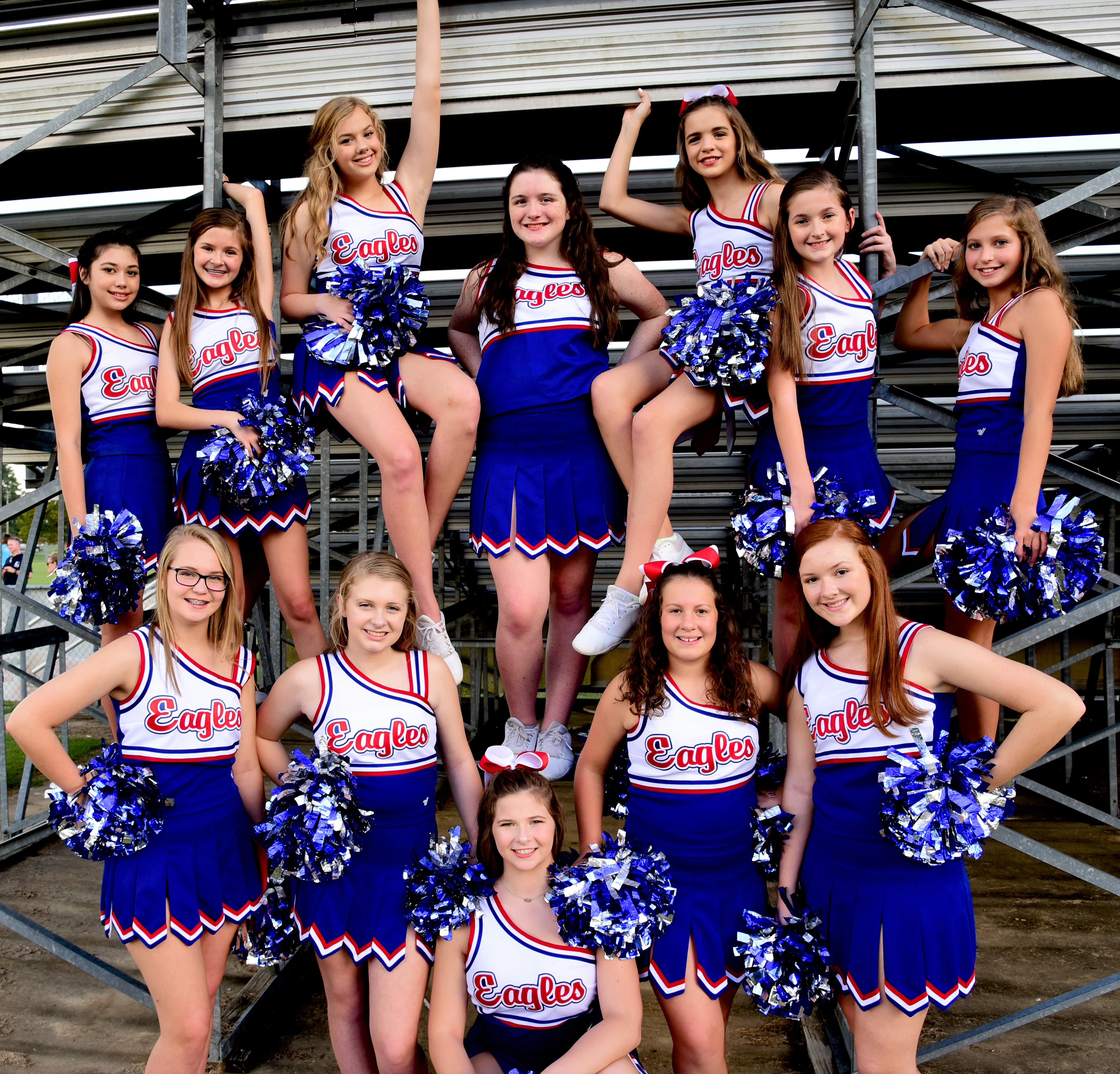 2018 Football Cheerleaders Behind the Stands