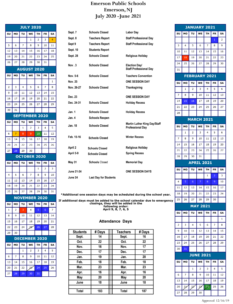 Emerson Public Schools Calendar 2020 and 2021   PublicHolidays.us