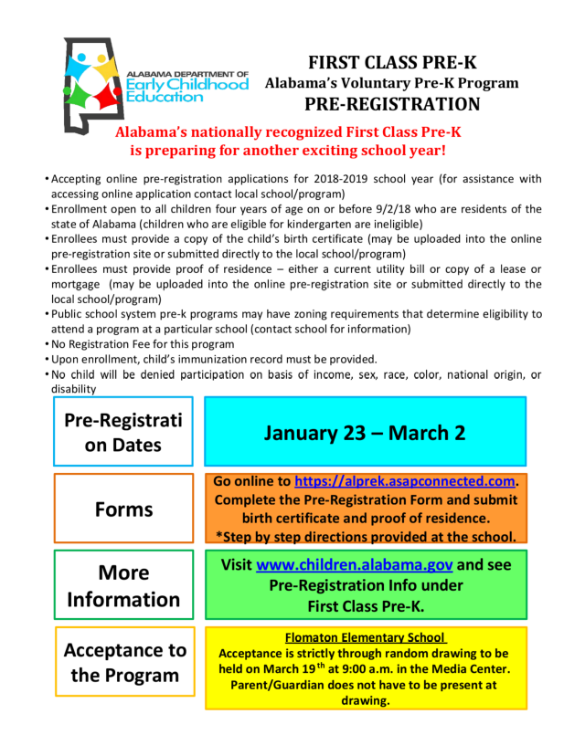 Flomaton High School Fes Prek Registration
