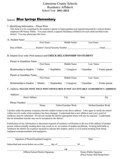 Blue Springs Elementary School Latest News  Oath Of Residency