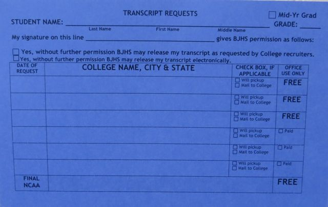 Transcript Request Card