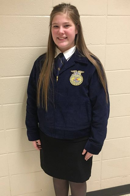 FCMS FFA Jr. Prepared Public Speaking Member Chloe Pulliam