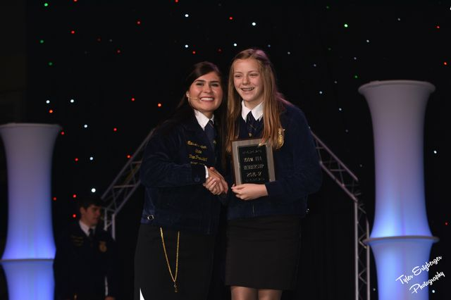 2017-2018 FCMS FFA President Abbie Gilbert accepted the 100% Membership Award on behalf of hte Franklin County Middle FFA Chapter