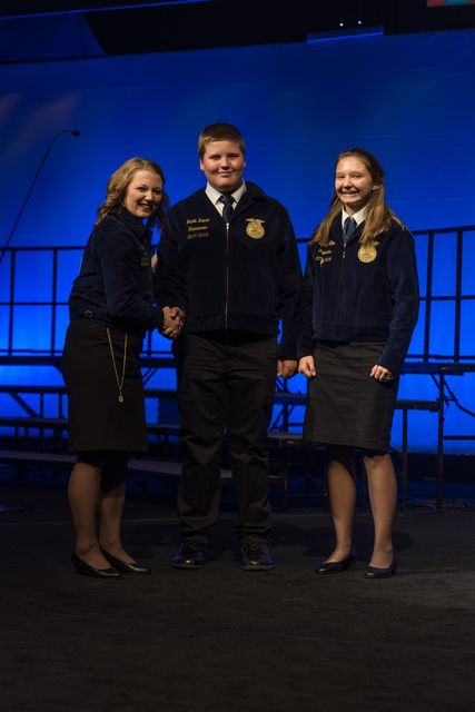 National 3 Star Chapter Jacob Keese and Sydney Allen were recognized on stage during the 90th National FFA Convention