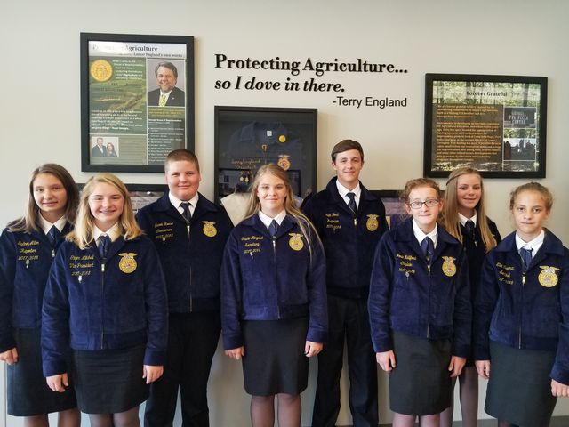 Franklin County Middle School FFA officers are pictured inside the Terry England Leadership Center during the dedication ceremony