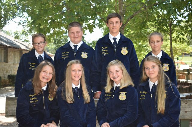 FCMS FFA Officer Team LtoR frontrow Sydney Allen, Abbie Gilbert, Ginger Mitchell, Gracie Minyard, backrow Josie Hallford, Javob Keese, Liam Ford and Ella Freeman