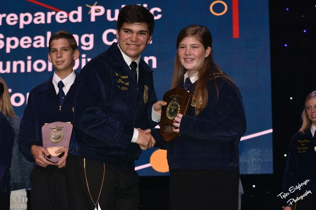 FCMS FFA member Chloe Pulliam placed 2nd in the State Contest and was recognized on stage during convention.