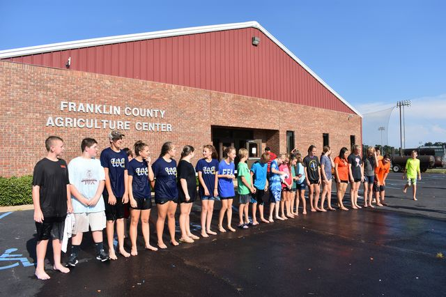 FCMS FFA Members lined up outside the Franklin County Agriculture Center as they prepared for activities at Ag Olympics