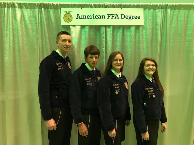 American FFA Degree Caleb Trites, Brandon Reed, Samantha Neal and Ashley Sorrow