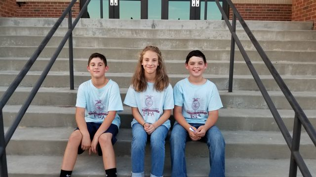 FCMS FFA Meats Evaluation Team members Isaac Hall, Ella Freeman and Rylan Tamplin