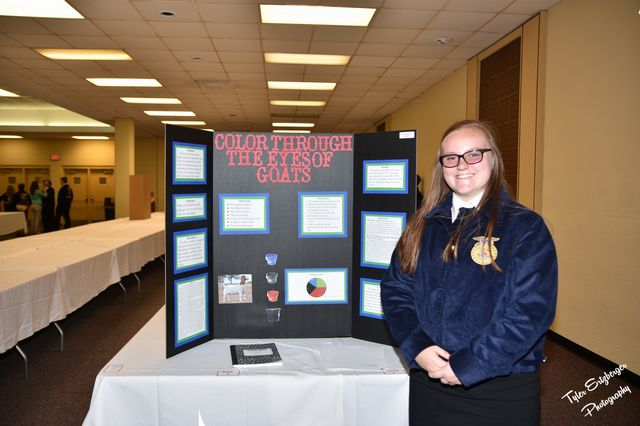 Kaitlyn Bennett placed 2nd in the State Agriscience Fair Animal Systems Division 1
