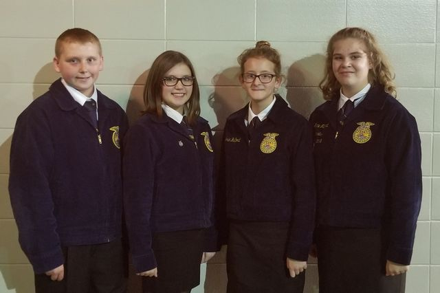 FCMS FFA Livestock Evaluation Team members Preston Busby, Lexi Holbrooks, Josie Hallford and Gracie Minyard