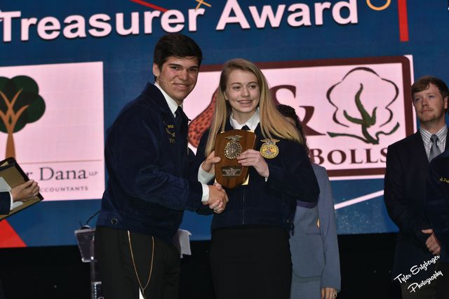 Anna Vaughn 3rd in State Outstaning Treasurer Award