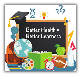 Blackboard with the words - Better Health equals Better Learners