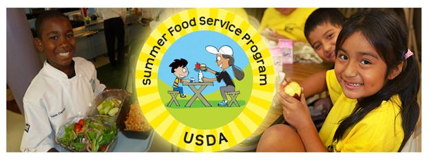 Three students eating foods with a sign of USDA Summer Food Service Program