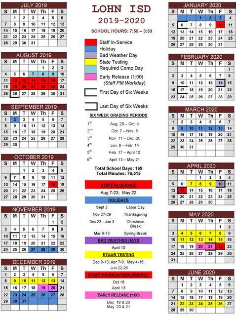 Lohn ISD: Spotlight - 2018-2019 School Calendar