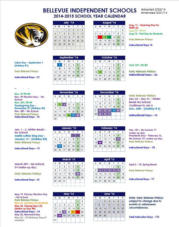 2014 2015 School Calendar 05 21 14 Bellevue Independent Schools