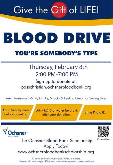 PCHS Ochsner Blood Drive January 16th