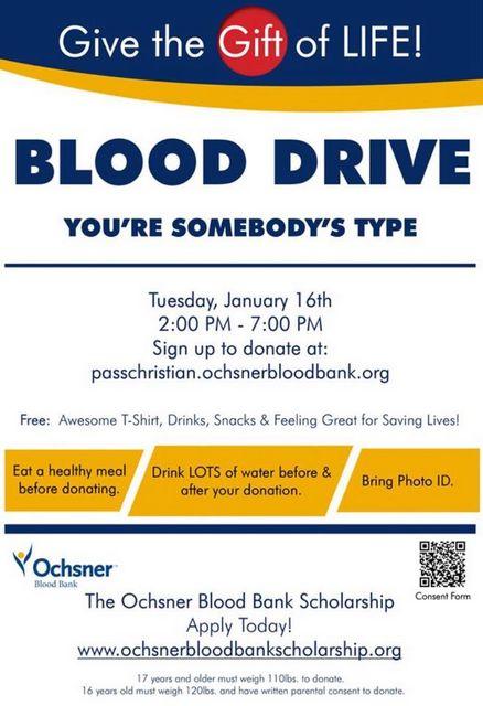 PCHS Ochsner Blood Drive January 16th