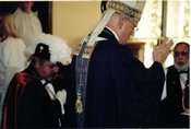 Shown with the late Bishop David E. Foley are Fourth Degree members Jerome C. Bradley (left) and Gaeton Conte
