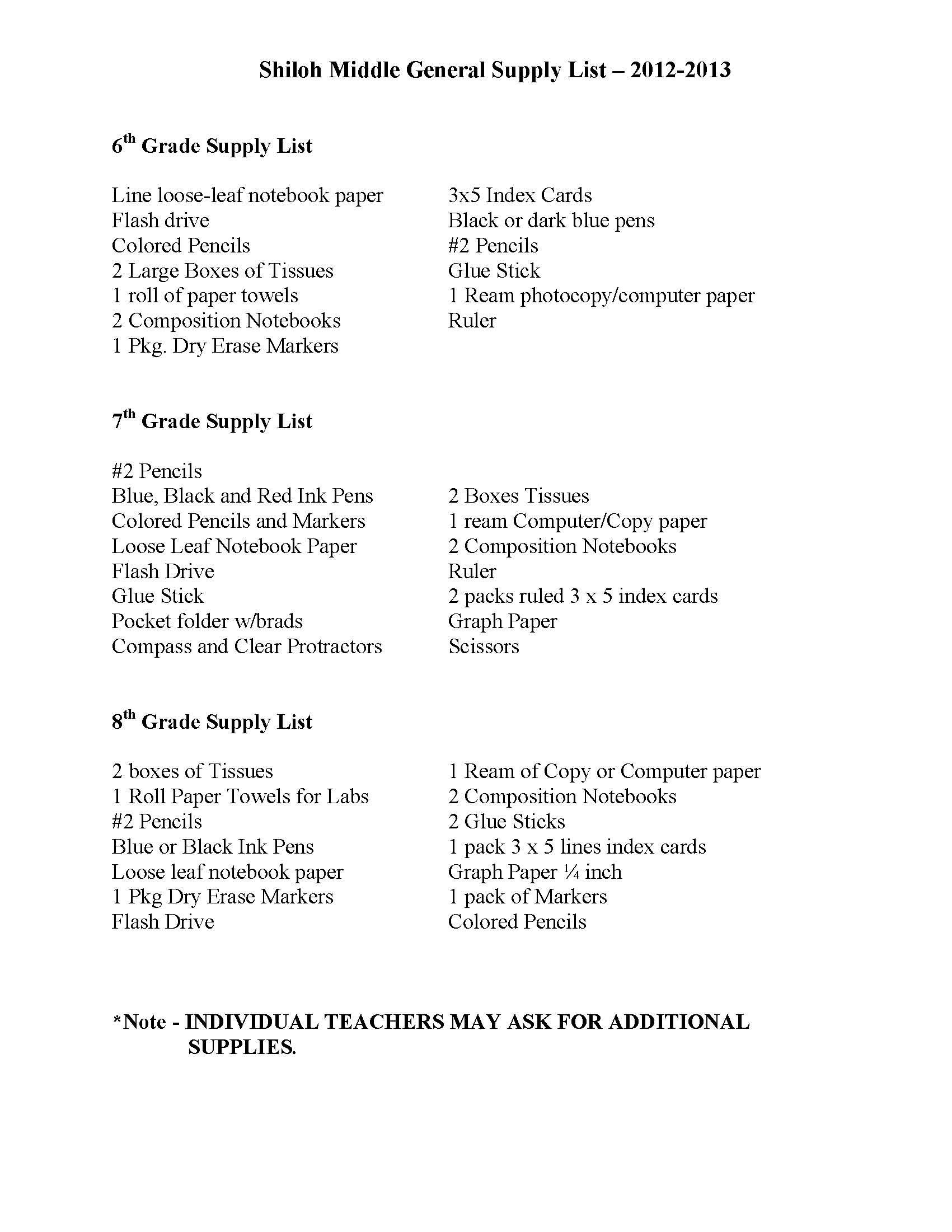 2012-2013 SMS Supply List
