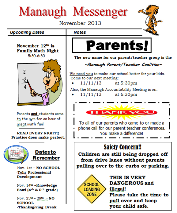 manaugh elementary school latest news november newsletter. Black Bedroom Furniture Sets. Home Design Ideas