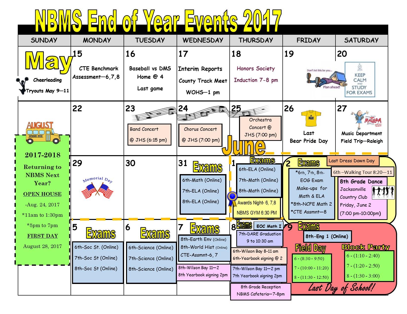 End Of Year Calendar : New bridge middle school
