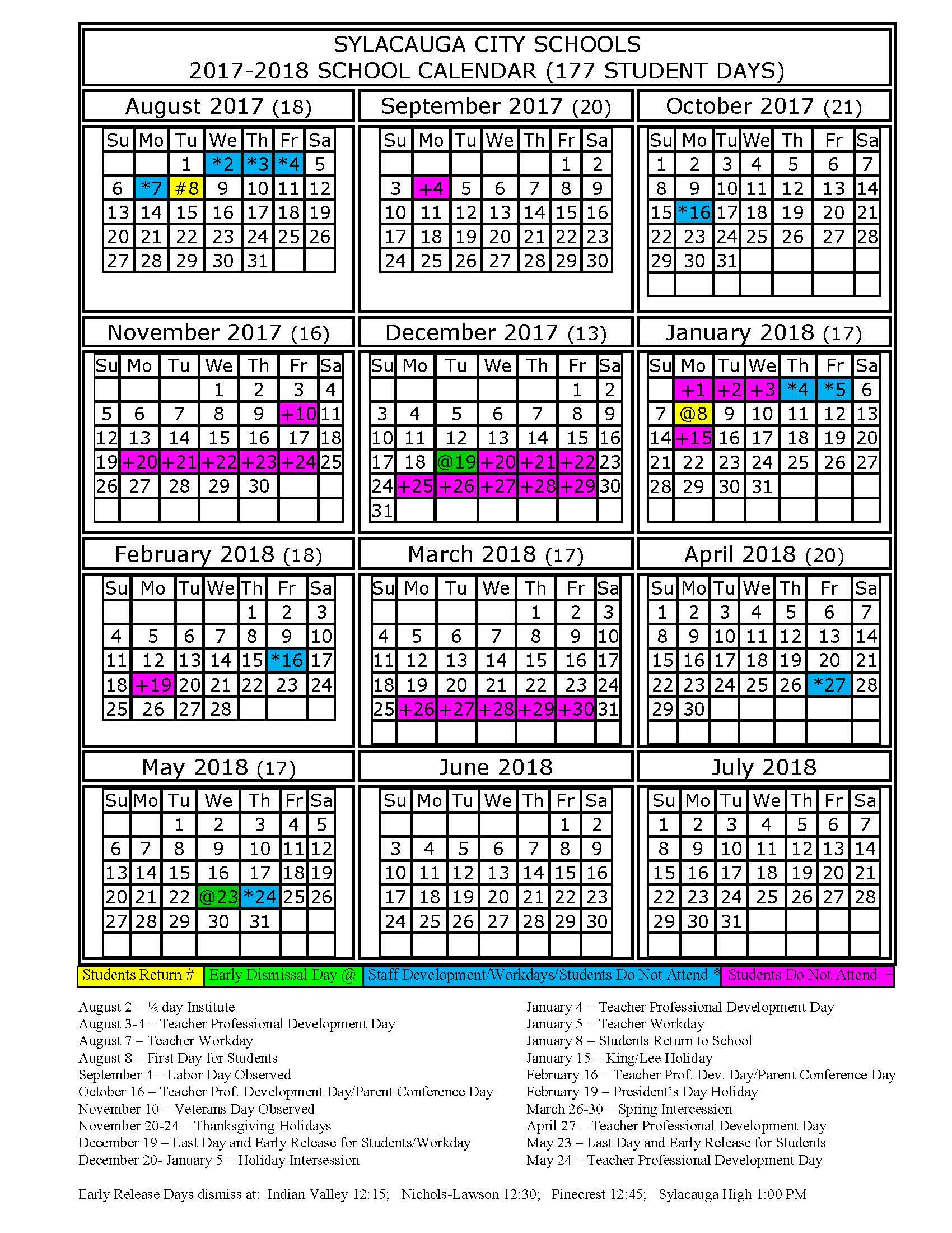 school calendars 2017 2018 as free printable pdf templates